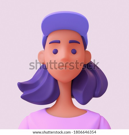 Casual young black girl with purple hair in pink t-shirt and blue cap on her head. Bright portrait of a teenage character. Young woman avatar in minimal art style for a social network. 3d illustration