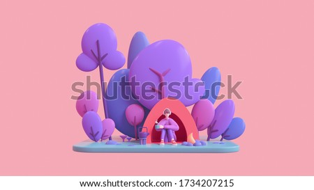 Casual young guy in headphones enjoys nature with a cup of tea in his hand sits in a red tent near the bonfire. Summer camp on a green lawn with blue purple trees. 3d illustration on pink background.