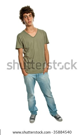 casual young man full body, isolated on white