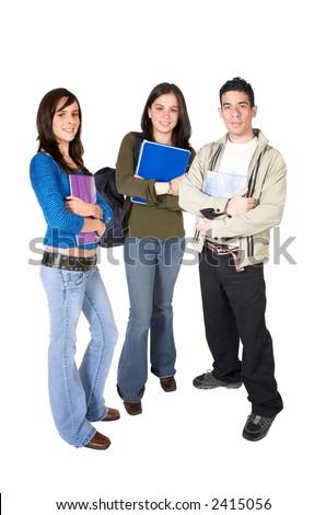 estudantes novos ocasionais em um fundo branco