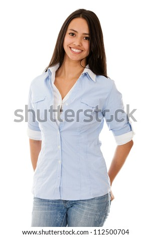Casual young woman smiling - isolated over a white background