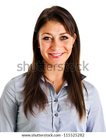 Casual young woman standing isolated against white background