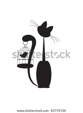 Cat and Bird Silhouette Black on white background