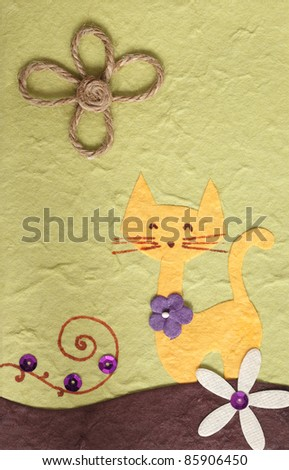 Cat and flower on Paper craft background
