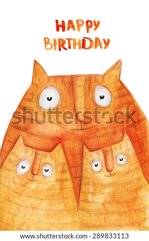Cat and 2 kitten. Happy birthday. Watercolor illustration. Hand drawing