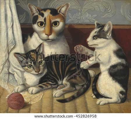 Cat and Kittens, by Anonymous, c. 1872-83, American painting, oil on millboard. painting of a cat and two kittens playing with a ball of yarn