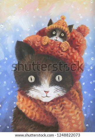 Cat and little kitty in hat. Oil painting illustration. Winter card.