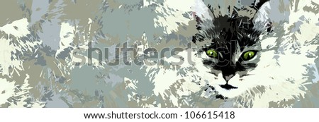 Cat artwork - black and white - emerging - shadow and light 2