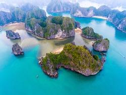 Cat Ba island from above. Lan Ha bay. Hai phong, Vietnam