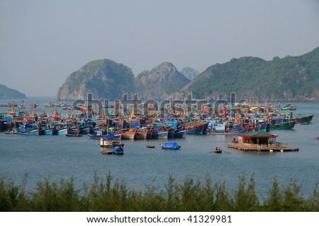 Cat Ba island in Halong Bay, Vietnam - stock photo