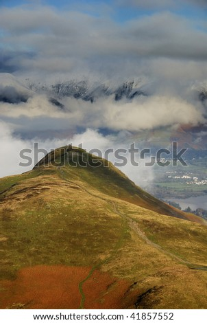 Cat Bells rising above the cloud in the English Lake District