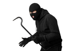 Cat Burglar Concept. Portrait of sneaky masked criminal holding crowbar, copy space, isolated over white studio wall
