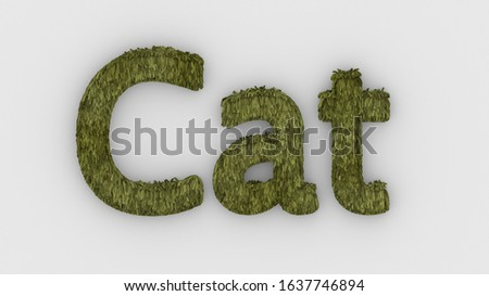 Cat - 3d word yellow on white background. render of furry letters. cat pets fur. Pet shop, pet house, pet care emblem logo design template. Veterinary clinics and animal shelters homeless illustration