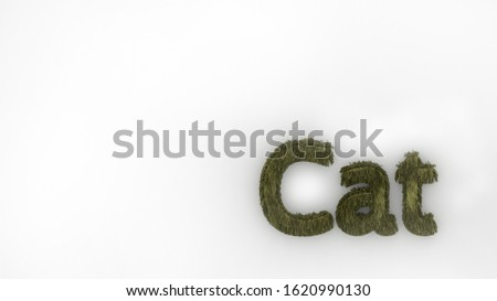 Cat 3d word yellow on white background. render of furry letters. hair. pets fur. Pet shop, pet house, pet care emblem logo design template. Veterinary clinics and animal shelters homeless illustration