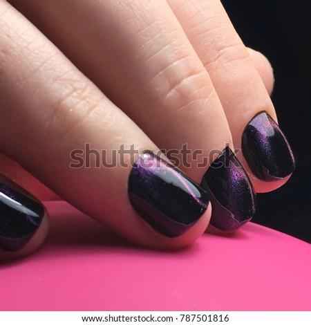 Stock Photo Cat eyes nail art manicure salon beauty violet night sky
