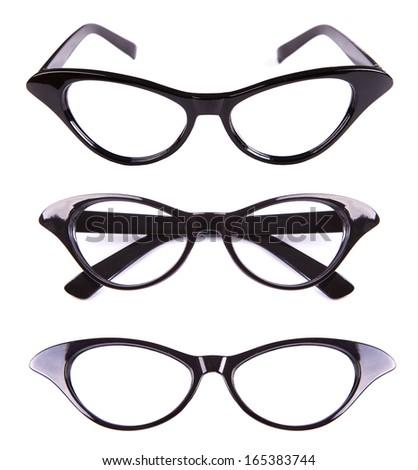 Cat eyes shaped retro glasses isolated on white