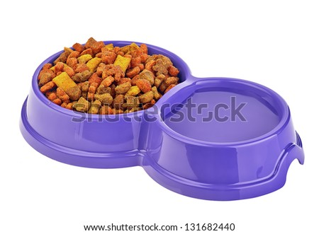 cat food in bowls isolated on white