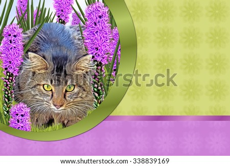 Cat Hiding Cut-Out- Cut-Out of depicting brown cat lying in grass surrounded by long purple flowers. Right side has green and purple background with flower texture with space for  text.