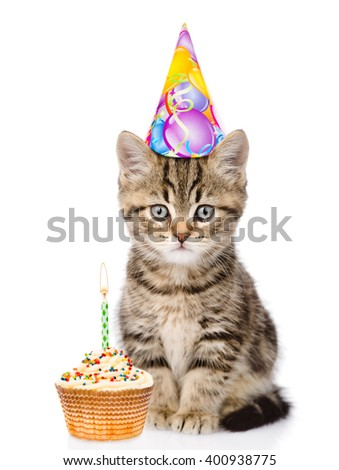 Cat In Birthday Hat And Cake Looking At Camera Isolated On White Background 400938775