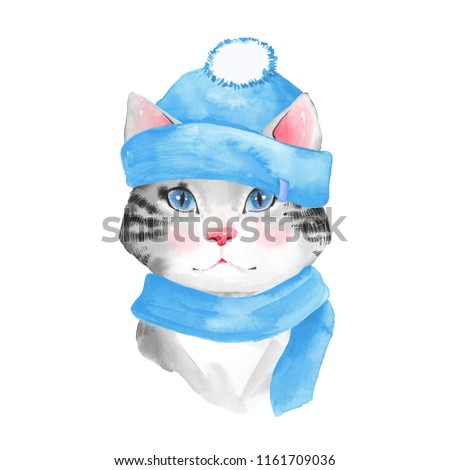 Cat in hat. Watercolor illustration, isolated on white