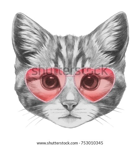 Cat in Love! Portrait of Cat with sunglasses. Hand-drawn illustration.