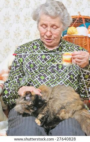cat lie on legs elderly woman