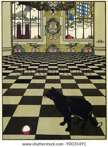 Cat playing ball in the checkered floor of the large hall of the palace, Gregory Narbut illustration of tale Vasily Zhukovsky How mice buried the cat, Joseph Knebel publishers, Moscow, Russia, 1910