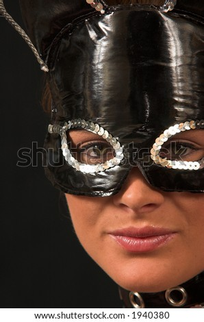 Cat Suit model with black mask and collar - stock photo