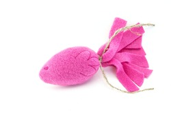 cat toy fish pink color on a white background,toy for cats fish