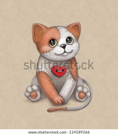 Cat toy illustration. Perfect for greeting card