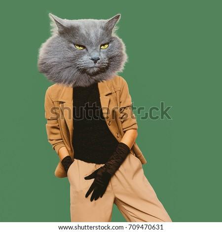 Cat Vintage clothing. Art collage. Minimal fun