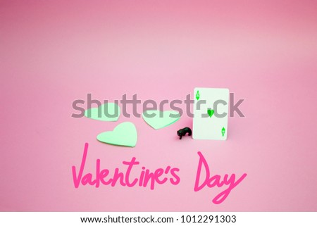 Cat with hearts for Valentine's Day on colorful background #1012291303