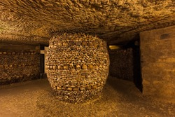 Catacombs in Paris France - travel background