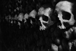 Catacombs Skulls Black And White Paris France