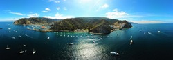 Catalina Island California aerial panoramic view