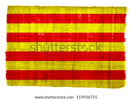 Catalonia flag on original papyrus background