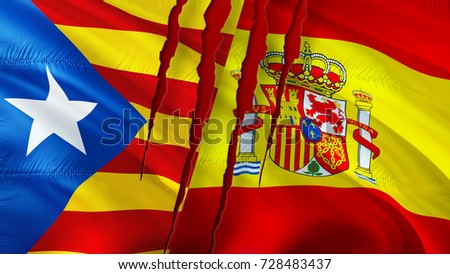 Catalonia Spain conflict. Catalonia referendum. Catalonia and Spain flags with scar concept. Waving flag. 3D rendering. Catalonia independence. Barcelona independence. Catalan Spain Catalan flag.