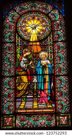 CATALONIA, SPAIN--OCTOBER 18, 2012 Stained glass Magi three kings baby Jesus Mary in Monestir Monastery of Montserrat, Barcelona, Catalonia, Spain on October 18, 2012.  Placa de Santa Maria.