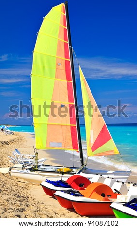 Catamaran and paddle boats on the beautiful cuban beach of Varadero