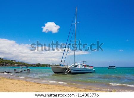 Catamaran at Waikoloa Beach, Big Island, Hawaii