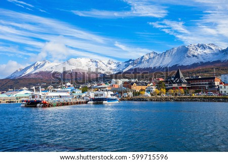 Shutterstock Catamaran boats in the Ushuaia harbor port. Ushuaia is the capital of Tierra del Fuego province in Argentina.