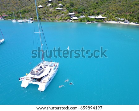 Catamaran Drone picture from Bitter End Yacht Club in the British Virgin Islands