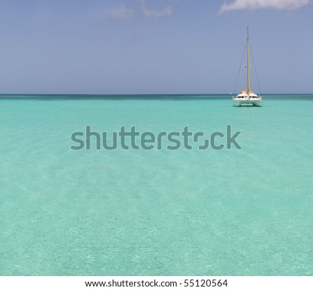 catamaran in saona beach - caribbean sea