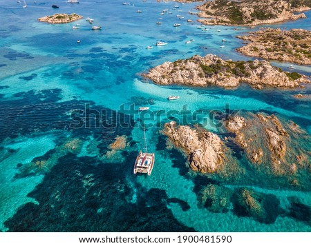 Catamaran in the waters of the Maddalena archipelago, Sardinia Stockfoto ©