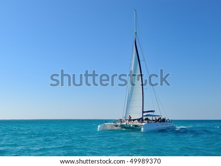 Catamaran on open sea