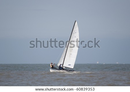 Catamaran sailing at sea