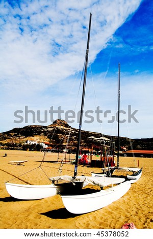 catamarans on the beach, vertical