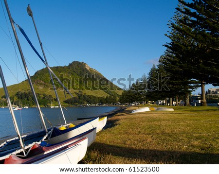 Catamarans pulled up on beach at Pilot Bay, Mount Maunganui, with the scenic harbor and mountain in background.