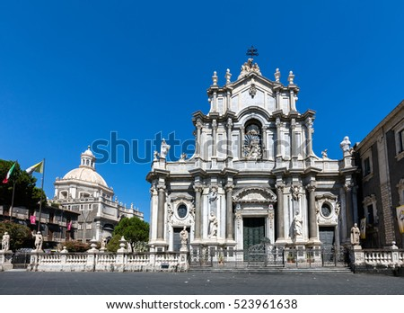 Catania Cathedral in Catania, Sicily, Italy, originated in the 12th century, rebuilt in the Sicilian Baroque style in the 18th century. #523961638