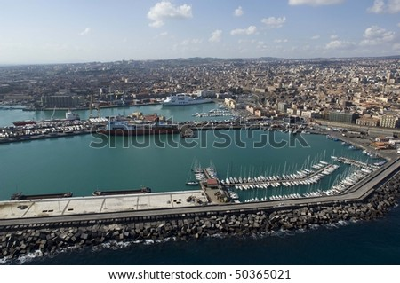 catania port, from above, sicily, italy